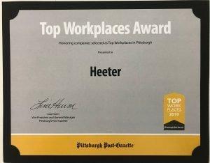 Heeter Top Workplace Certificate